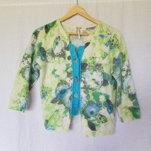 Free people floral wool blend cardigan size Medium